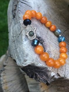 Hamsa Hand Beaded Bracelet Yoga Jewelry by AccessoriesBYNOLA