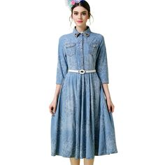 S- 5XL Vintage Jacquard  Denim Dress 34/ Sleeve Turn Down Collar In Spider Lapel Pin Slim Fit Belts Flare Midi Dress Like and share this pure awesomeness! Get it here