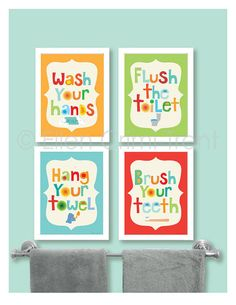 Kids Bathroom Decor- Kids bathroom Wall art/bathroom manners/ kids wall art/ nursery wall decor/wash your hands/ brush your teeth Kids Bathroom Decor Kids bathroom art by EllenCrimiTrent on Etsy
