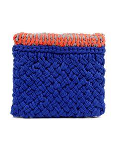 knit clutch in earth tones