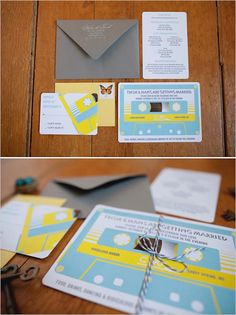 Music Theme Ideas - Cassette Invitations * I would change color Wedding Themes, Wedding Designs, Wedding Cards, Wedding Ideas, Wedding Dresses, Trendy Wedding, Our Wedding, Dream Wedding, Vintage Invitations