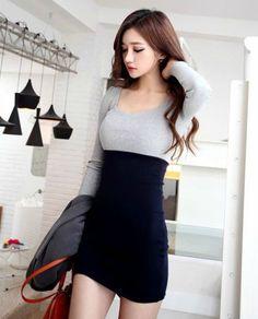 Round Neck Splicing Long Sleeve Dress
