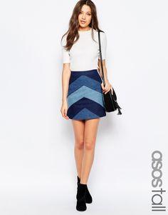 ASOS TALL Denim A-Line Mini Skirt With Chevron Patchwork