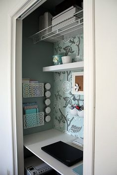 Eleanor's room: use the same wallpaper on the wall in the closet that we use on the ceiling.