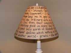 favorite quotations written in black sharpie dress up a plain lampshade