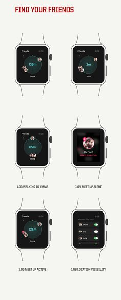 Apple Watch App - Find your Friends #app #watch #tech #design #ux #ui