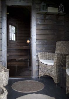 Kesämökin sauna Outdoor Sauna, Outdoor Decor, Traditional Saunas, Sauna Design, Finnish Sauna, Summer Cabins, Sauna Room, Alvar Aalto, Home Spa