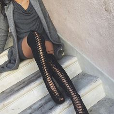- Available in Black and Nude - Thigh High - Lace Up - Zipper Side - 4.5 inch heel