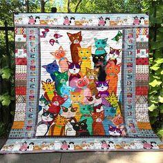 MP2309 - Love - To My Daughter - Quilt – Everyday Trendz Grumpy Cat Meme, Cat Memes, Happy Face Meme, Yorkshire Terrier, 3d Quilts, Cat Quilt, Cat Colors, Kona Cotton, Blanket Sizes