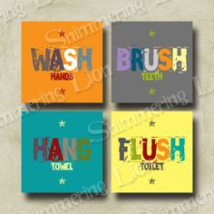 Kids Bathroom Wall Art gender neutral kids bathroom print set | brush wash flush | three