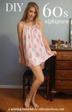 29 Cute DIY Nightgowns and Sleepwear You Can Make Yourself, Diy And Crafts, DIY Nightgowns and Sleepwear - DIY Night Gown - Easy Sewing Projects for Cute Nightshirts, Tshirts, Gowns and Pajamas - Free Patterns and Step by. Lingerie Couture, Sewing Lingerie, Diy Couture, Dress Tutorials, Sewing Tutorials, Sewing Hacks, Sewing Tips, Sewing Projects For Beginners, Easy Sewing Projects