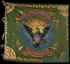 The flag of the 9th Massachusetts mixes American & Irish symbols