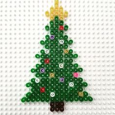 Christmas tree hama beads by madebyevren Diy Perler Beads, Pearler Beads, Fuse Beads, Perler Bead Designs, Christmas Perler Beads, Christmas Ornaments, Christmas Tree, Bead Crafts, Diy And Crafts