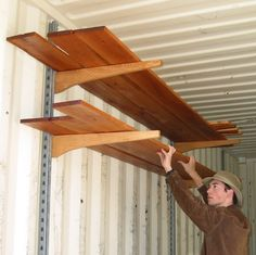 Build your own shelving for a shipping container.  They are very strong and can be used as regular shelves or as stock racks. You can even use them fo...