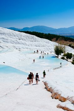 "Pamukkale - ""Cotton castle"" in Turkish, this is the hot water of the neither hot nor cold in Rev."