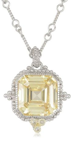 """Estate"" Estate Ascher Cut Stone Canary Pendant #Necklace by Judith Ripka #jewelry"