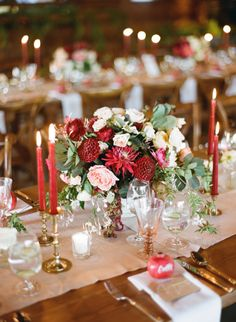 Red and gold wedding table decor for a holiday wedding: http://www.stylemepretty.com/2015/11/10/festive-inspiration-for-a-christmas-wedding/ Photography: Josh Gruetzmacher - http://www.joshgruetzmacher.com/