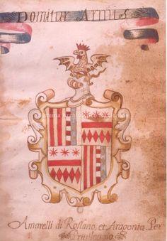 Stemma, tratto da un manoscritto, della famiglia Amarelli di Rossano inquartato per privilegio con l'arme della casa reale di Napoli, quella degli Aragona; e' sormontato da un elmo a cancelli che presenta il collare simbolo dell'appartenenza ad antica nobilta' e dal nastro con il motto Domatur Armis, 1496