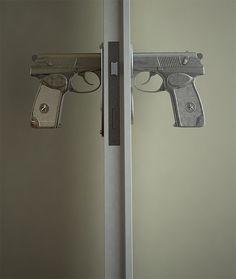 As an avowed liberal, I feel *some* shame that I find these awesome: bang bang handles. But seriously, bang bang!