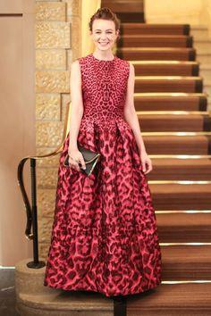 Carey Mulligan wearing Alexander McQueen at Asmallworld 10th Anniversary Gala in Gstaad, Switzerland