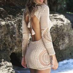 How to Crochet a Little Black Crochet Dress - Crochet Ideas Excited to share this item from my shop: Crochet Mini Dress, Long Sleeve Dress, Festival Clothing. Gilet Crochet, Diy Crochet, Crochet Bikini, Crochet Top, Crochet Ideas, Prom Dress Shopping, Online Dress Shopping, Boho Fashion, Fashion Outfits