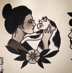 tattoo old school ~ tattoo old school ; tattoo old school black ; tattoo old school femininas ; tattoo old school men ; tattoo old school traditional ; tattoo old school black vintage ; tattoo old school design ; tattoo old school vintage Kunst Tattoos, Body Art Tattoos, Men Tattoos, Cat Tattoo, Tattoo Drawings, Tattoo Old School, Old School Ink, Geometric Tatto, Initial Tattoo