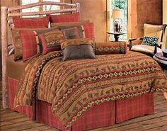 Delectably Yours Cascade Lodge Bedding Comforter Set with matching neckroll pillow in twin, full, queen and king size by HiEnd Accents.  #DelectablyYours Rustic Cabin Lodge Bed and Bath Decor