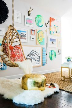 We love this bright, fun, and creative space! Gallery Wall Ideas, Layouts to Spruce Your Space   Brit + Co