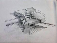 O Architectural sketch Architecture Concept Drawings, Architecture Sketchbook, Architecture Student, Futuristic Architecture, Art And Architecture, Classical Architecture, Arch Model, Building Design, Inspiration