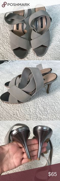 🎈NWOB French Connection Strappy Heels🎈 Absolutely gorgeous grey NWOB French Connection heels.! I only tried these on once to walk around in the house and Never wore them again..!  ~Size 6.5 (6 1/2) ~NWOB French Connection Shoes Heels