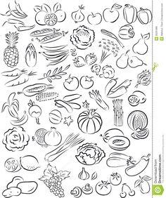 Vegetable Clipart Black And White Vegetables And Fruits . - Vegetables - Vegetable Clipart Black And White Vegetables And Fruits - Fruit Clipart, Food Clipart, Vegetable Drawing, Easter Arts And Crafts, Vegetable Illustration, Line Art Vector, Easter Religious, Clipart Black And White, Artist Portfolio