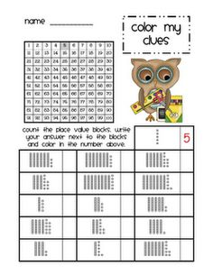 Fun place value activity where base-10 values are determined and colored on a hundred board.