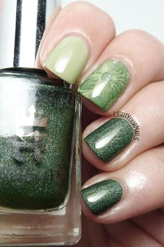 Green skittlette manicure feat. Essie, A-England and MoYou Nails #nailart