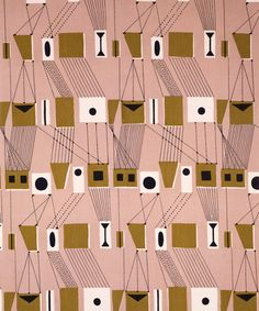 Lucienne Day, mid-century modern design, shapes, geometric pattern, pink & black and mustard yellow