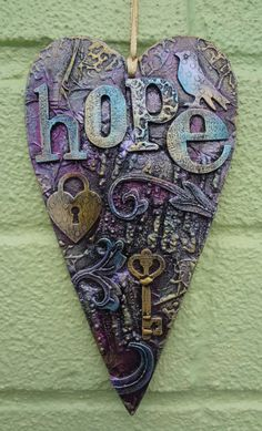 Mixed media heart hanger hope by LindsayMasondesigns on Etsy