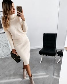 Casual Long Sleeve Turtle Neck Two-Piece Dress Black Dress Outfits, Sweater Dress Outfit, Winter Dress Outfits, Classy Outfits, Chic Outfits, Fashion Outfits, Barbie Outfits, Long Sweater Dress, 50 Fashion