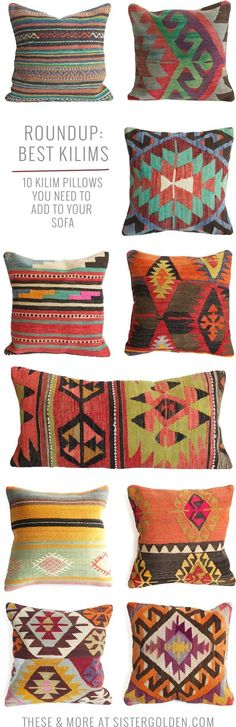 Kilim pillows that will add instant boho style to any drab couch! Kilim pillows that will add instant boho style to any drab couch! Kilim Pillows, Throw Pillows, Couch Pillows, Diy Pillows, Deco Boheme, Textiles, Boho Stil, Retro Home Decor, Handmade Home