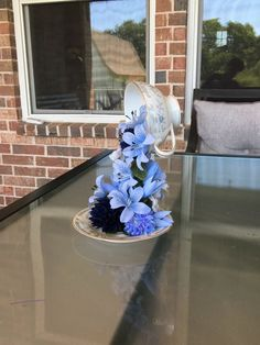 Foyer Decorating, Decorating Coffee Tables, Teacup Crafts, Teacup Decor, Floral Centerpieces, Floral Arrangements, Blue Lilies, Floating Tea Cup, Baby Shower Flowers