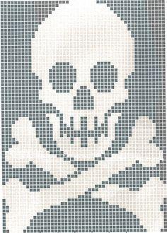 Skull and crossbones Crochet Skull Patterns, Beading Patterns, Embroidery Patterns, Quilt Patterns, Knitting Charts, Knitting Patterns, Crochet Chart, Knit Crochet, Cross Stitch Designs