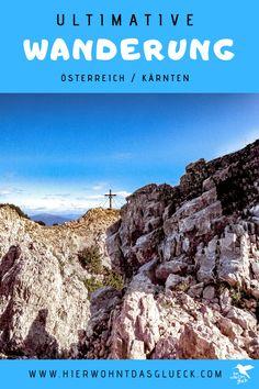 """Der Mallestiger Mittagskogel (slow. Maloško poldne) liegt in den Karawanken an der österreichisch-slowenischen Grenze. Wir haben die anspruchsvolle Tour mit leichtem Klettersteig für euch getestet! Außerdem verraten wir, was ein """"Zwölf-Uhr-Zeigeberg"""" ist. Austria, Hiking, Water, Outdoor, Europe Travel Tips, Summer Vacations, Family Activity Holidays, Road Trip Destinations, Walks"""