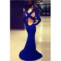 Gorgeous Blue Cross Back Long Mermaid Dress