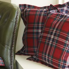 Pillows pictured in the MacFarlane Clan Modern plaid