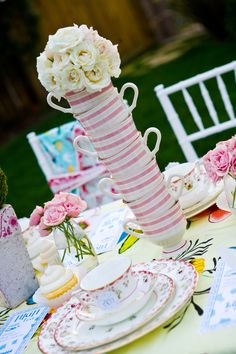 tea party themed bridal shower (look at that centerpiece idea!!) || Photo Credit: Lollipop Events and Designs