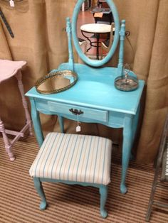 Turquoise Vanity with stool by SouthernRenewal on Etsy, $250.00