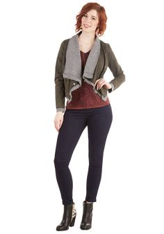 Asymmetrically Minded Jacket. You see the world from multiple angles, and this moto jacket is proof of your unique viewpoint. #brown #modcloth
