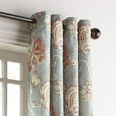 "Somerton Floral Gray 96"" Grommet Curtain"