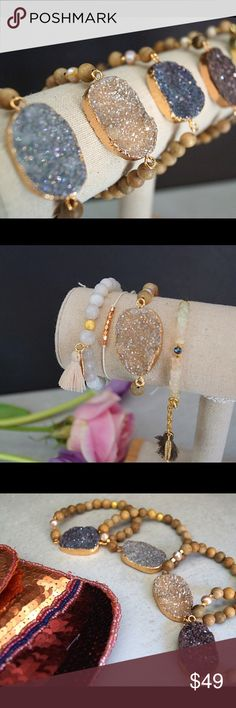 HOST PICK  Titanium Druzy  Gold and Gold Plated bracelets.  Each is accented with gold faceted beads and a natural pearl and finished with a gold plated bead at the back.  These Sparkle!  Wear alone or paired with your favorite bracelets. Jewelry Bracelets