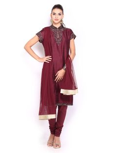 BIBA by Rohit Bal Women Maroon Silk Churidar Kurta with Dupatta