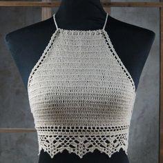 tops a crochet paso a paso ile ilgili görsel sonucu Top Tejidos A Crochet, Beach Crochet, Crochet Halter Tops, Diy Crochet, Crochet Blouse, Crochet Top, Bikinis Crochet, Crochet Bikini Top, Crochet Designs