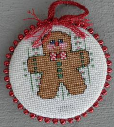 GINGERBREAD MAN Cross Stitch Christmas Ornament Hand Made NEW!
